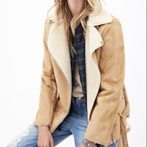 Faux Suede Shearling Utility Jacket Belted Coat S